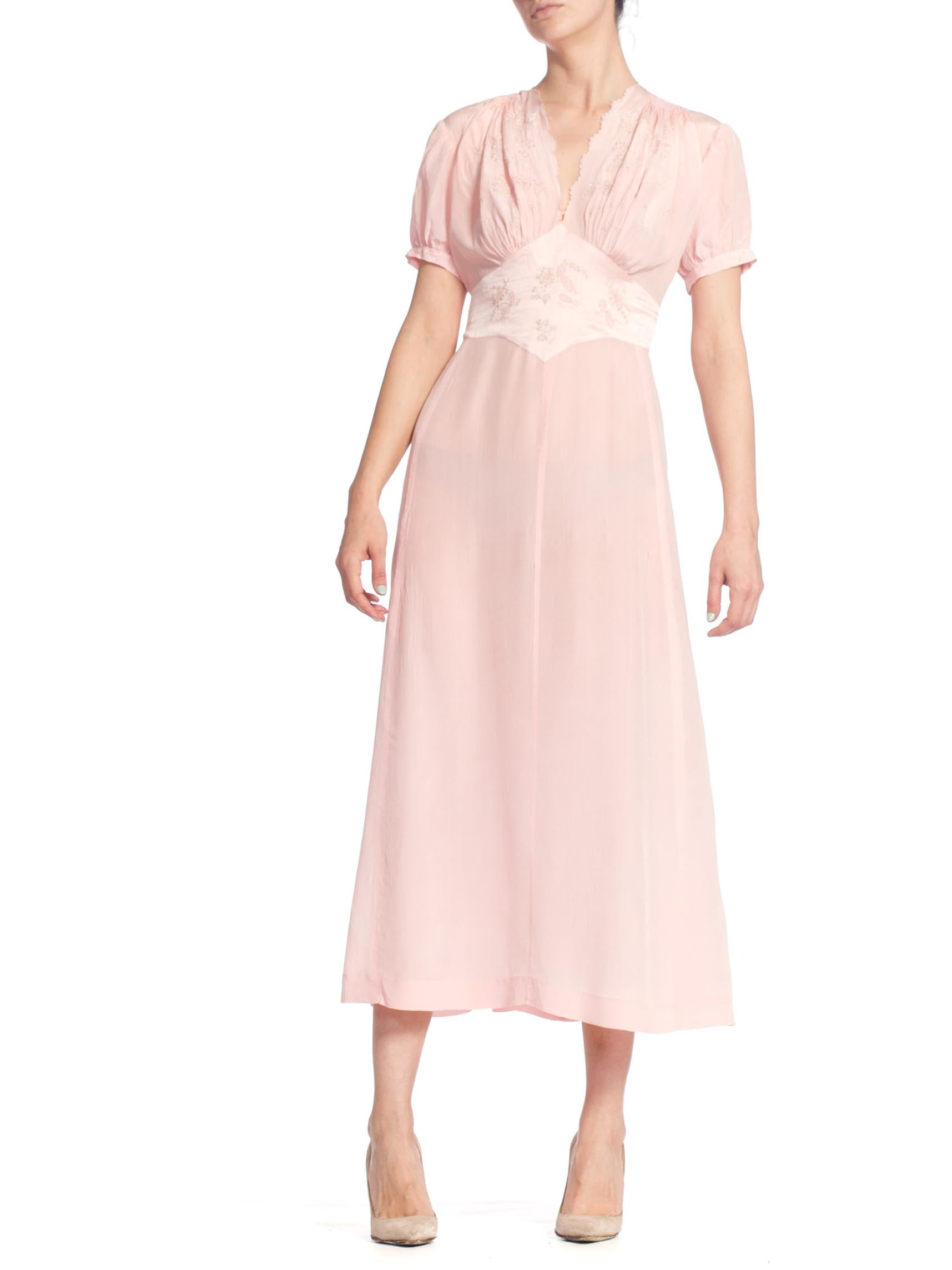 1940S Baby Pink Silk Hand Embroidered Negligee Slip Dress With Adjustable Waist Ties