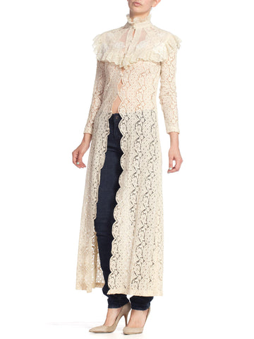 1970'S Lace Duster 1890'S Victorian Style Lace Dress