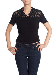 1930'S Black Short Sleeve Top With Lace & Patterenedred Collar