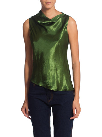 1990S Brass Satin Green Top