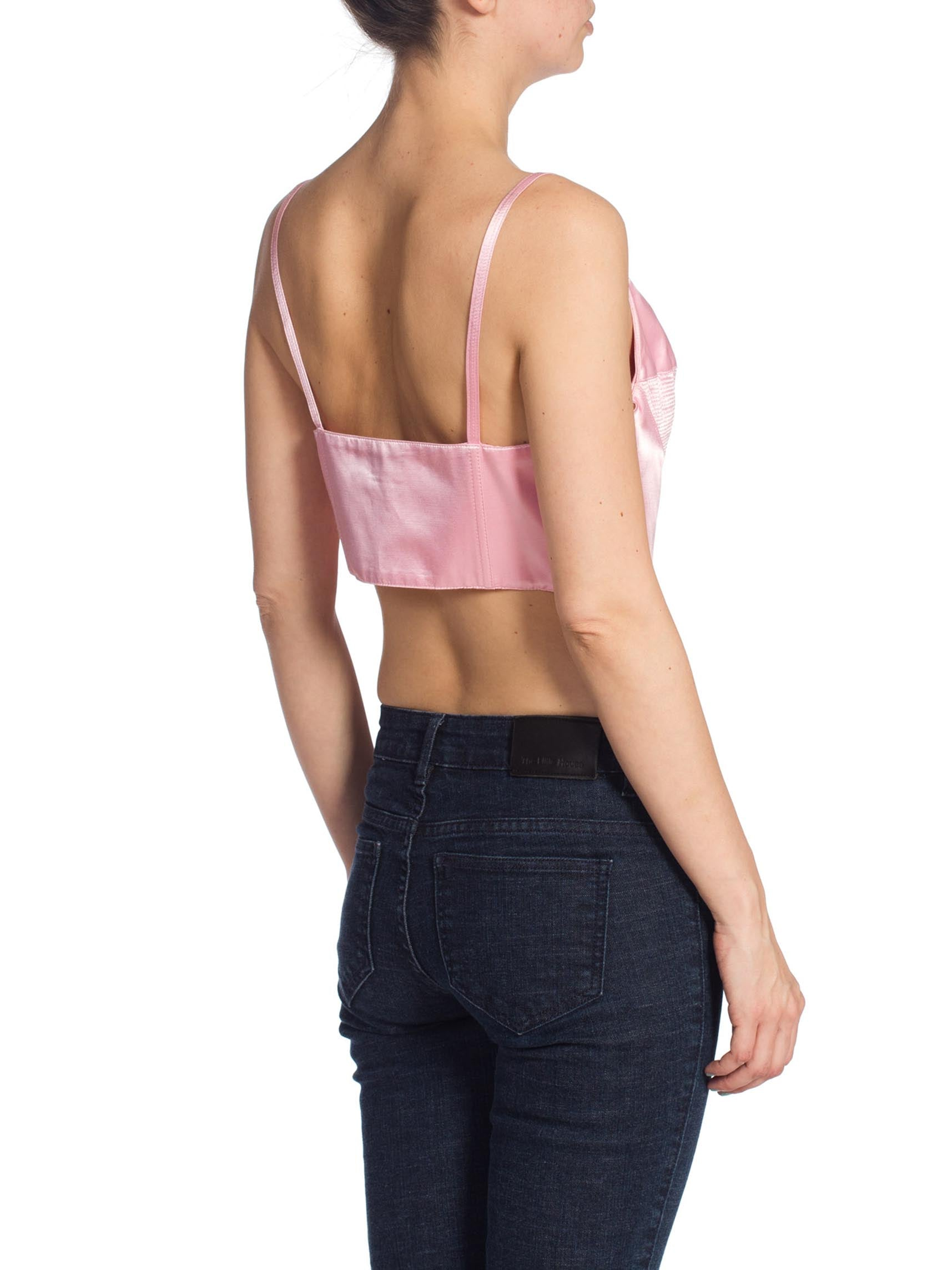 1990'S GIANNI VERSACE Baby Pink Satin Bra Top Buster Bustier