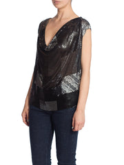 2010S Morphew Collection Patch Work Metal Mesh Top In Black With Crystals