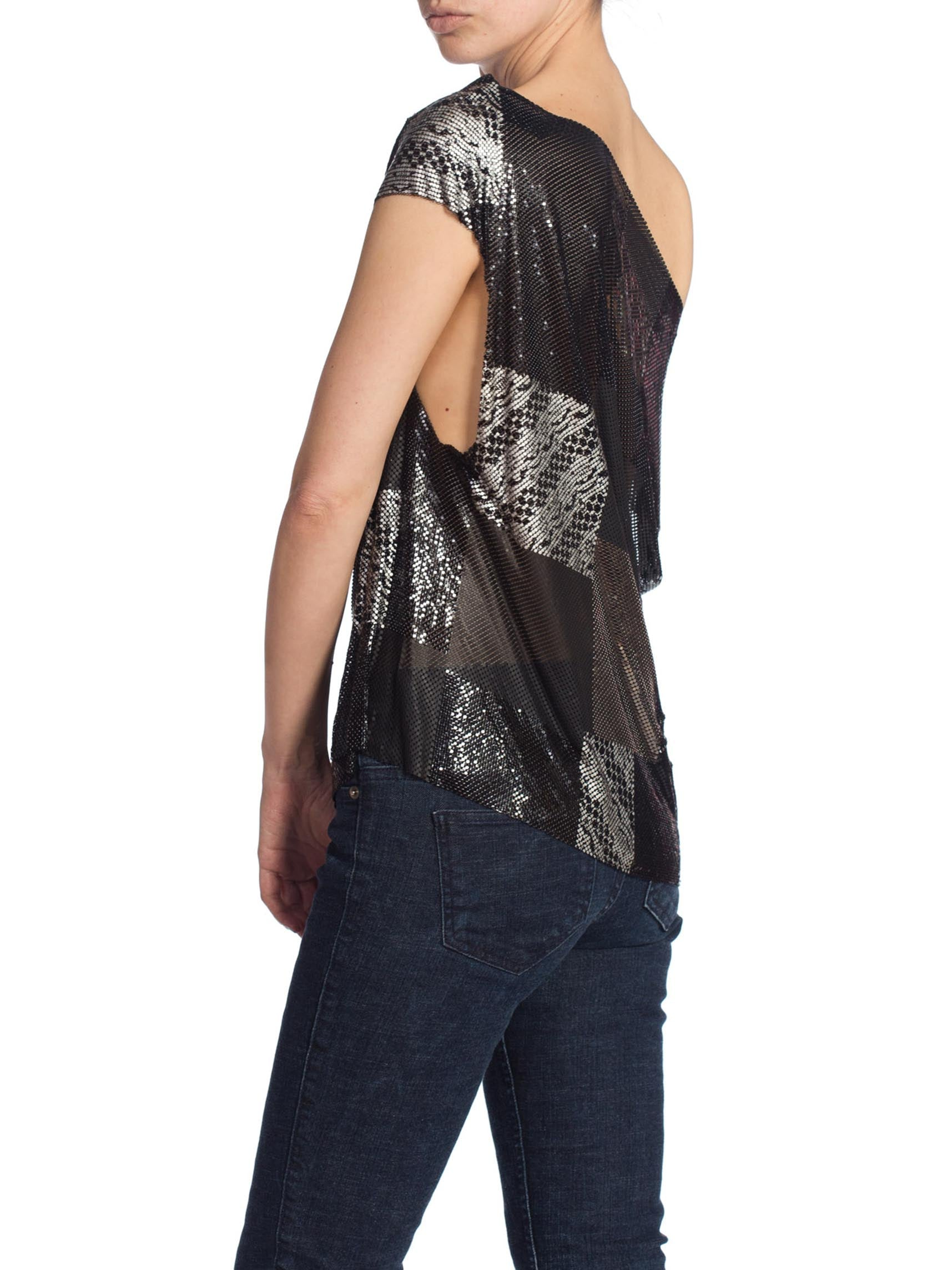 Morphew Collection Patch Work Metal Mesh Top In Black With Crystals
