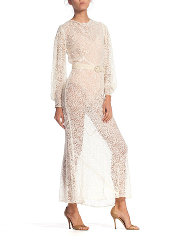 1930S Cream Bias Cut Rayon Lace Dress With Bishop Sleeves & Belt