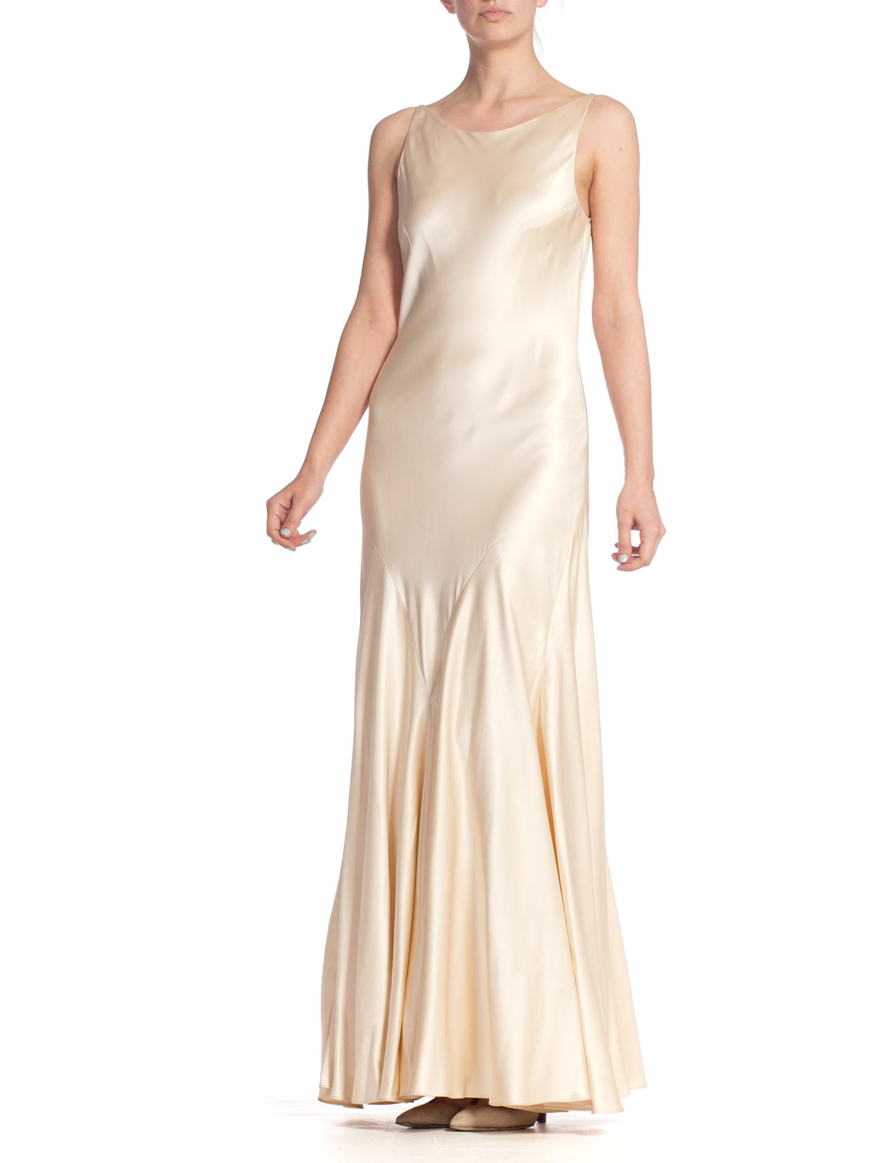 1990S Cream Silk Charmeuse 1930'S Art Deco Old Hollywood Style Bias Cut Vintage Bridal Gown