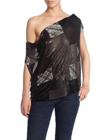 Morphew Patch Work Metal Mesh Top In Black With Crystals