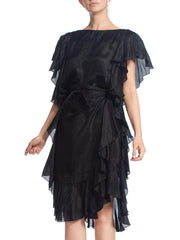 1970S Black Tissue Silk Ruffled Dress