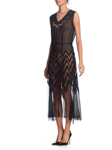 1930S Black Sheer Silk Chiffon Art Deco Chevron Appliqué Midi Length Net Dancing Dress
