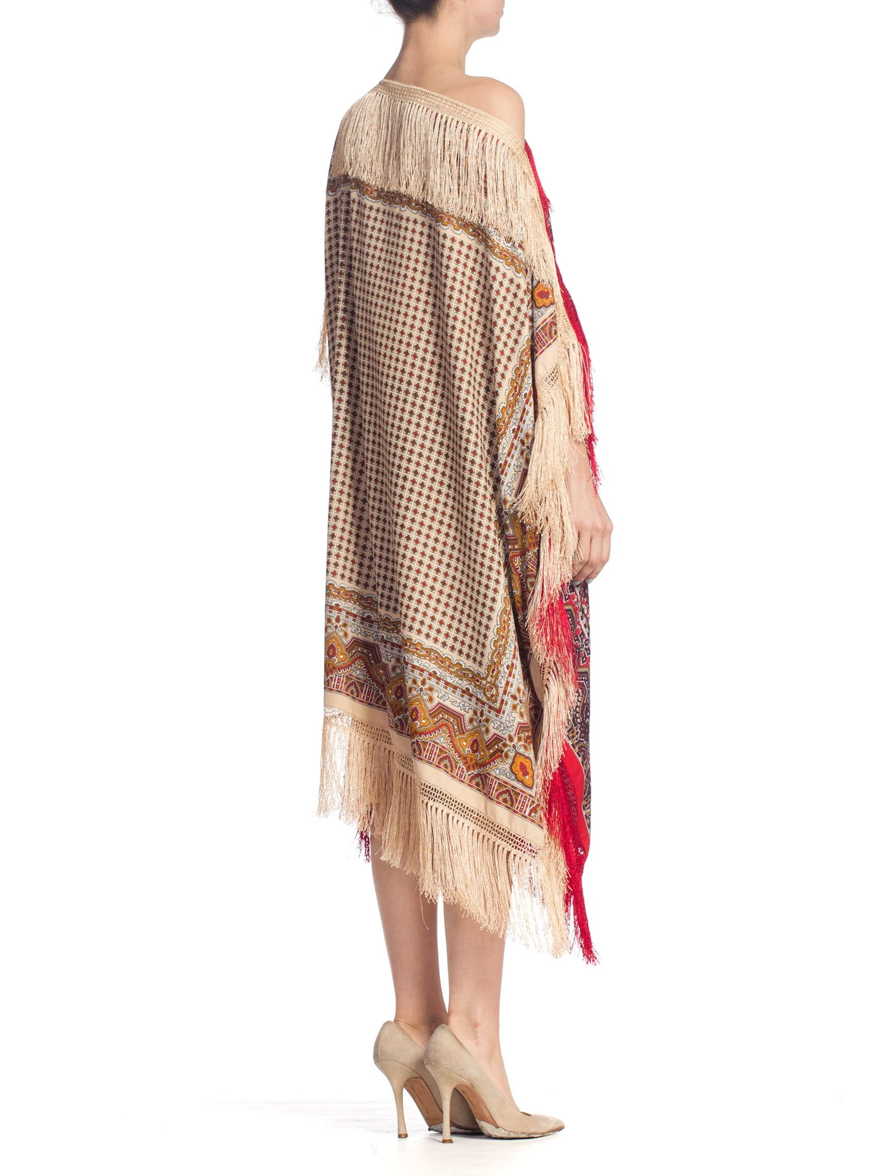 Morphew Collection Paisley Rayon & Silk Kaftan Tunic Dress Made From Vintage Scarves With Fringe