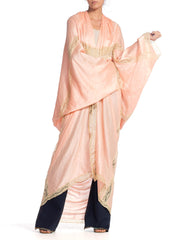 Morphew Cocoon Wrap Made From 1920S Pink Silk & Lace