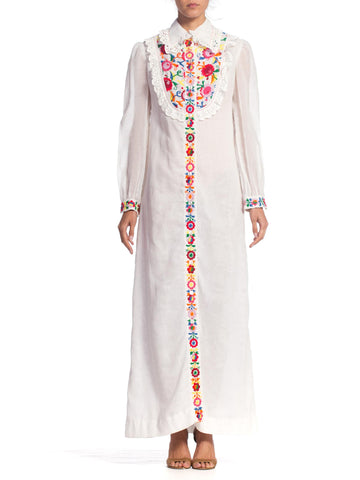 1970S White Cotton Blend Shirt Dress With Floral Embroidery And Vintage Lace
