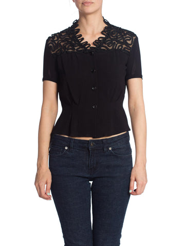 1940S Black Rayon Short Sleeve Top With Lace & Passementrie Collar