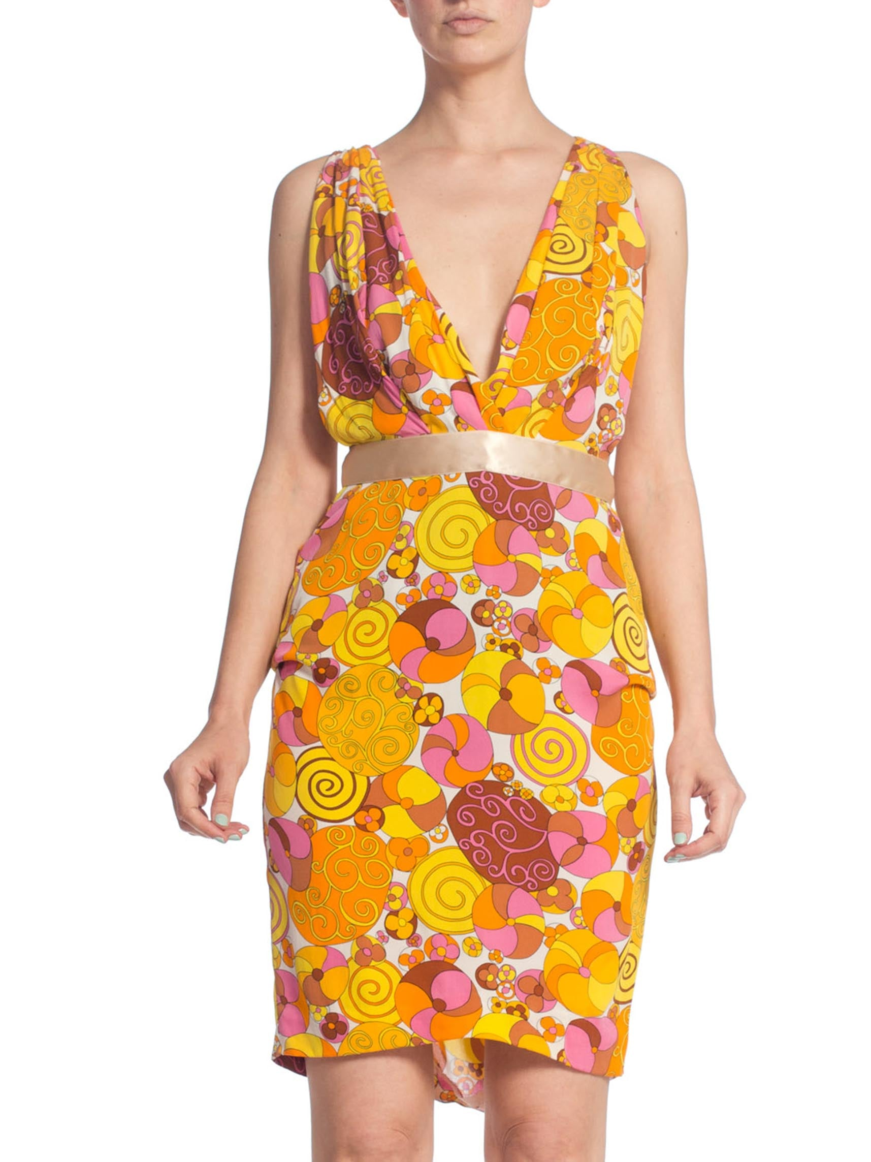 2000S DOLCE & GABBANA Orange Psychedelic Silk Lycra Low Cut Backless Cocktail Dress