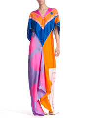 Kaftan Made From 1960'S Hand Printed Silk Scarves