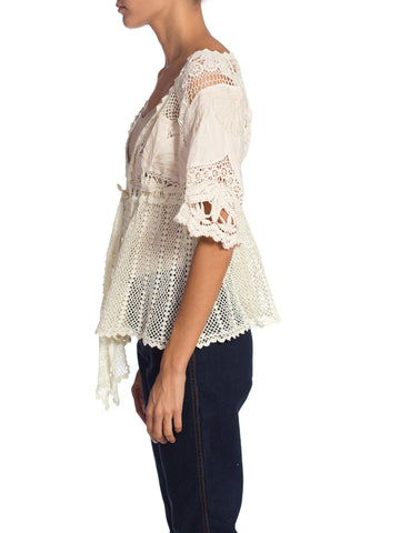 1970S Cream Cotton Crochet Edwardian Style Embroidered Top