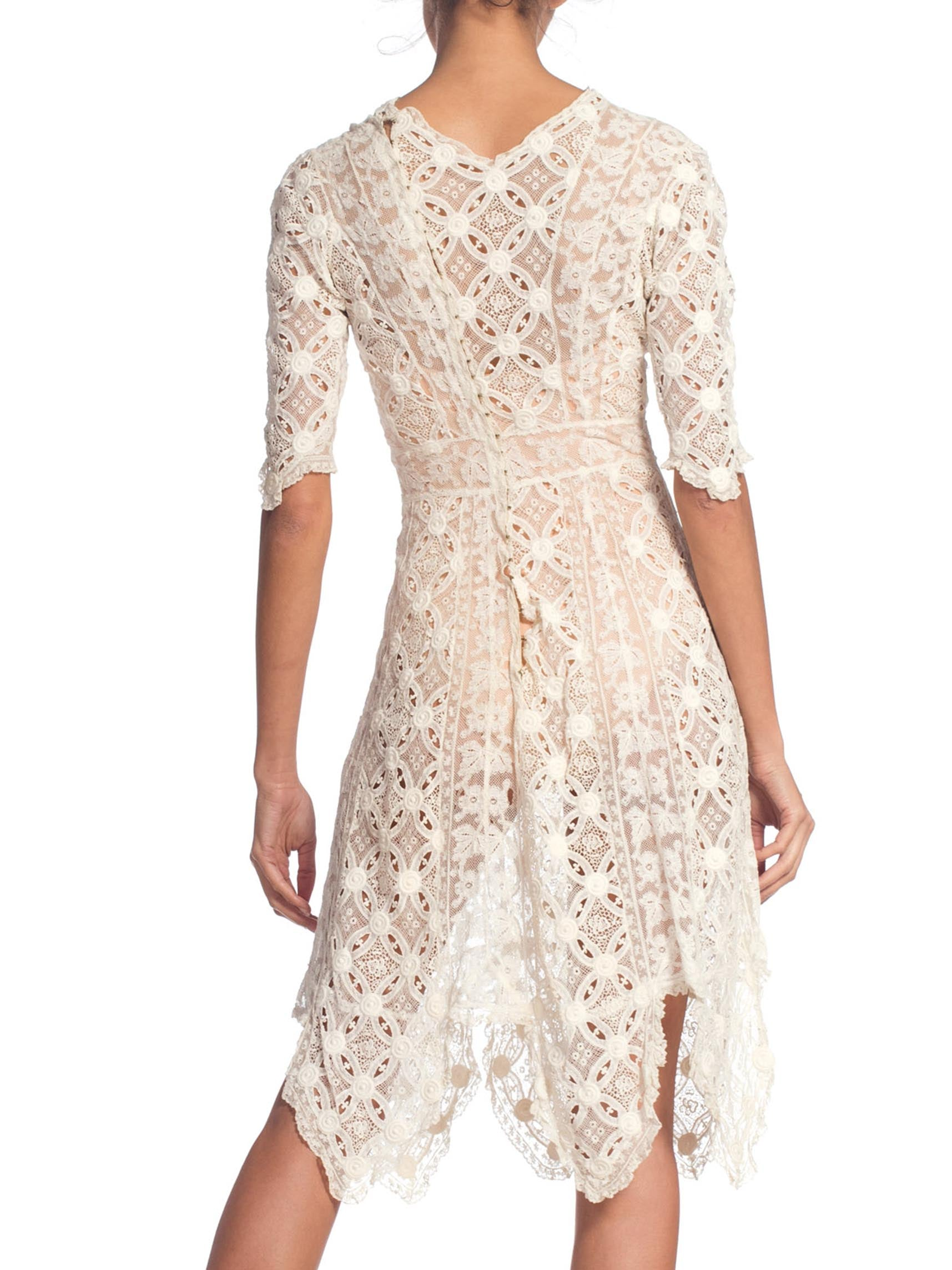 Edwardian White Organic Cotton Dress Artfully Pieced In Numerous Styles Of Lace