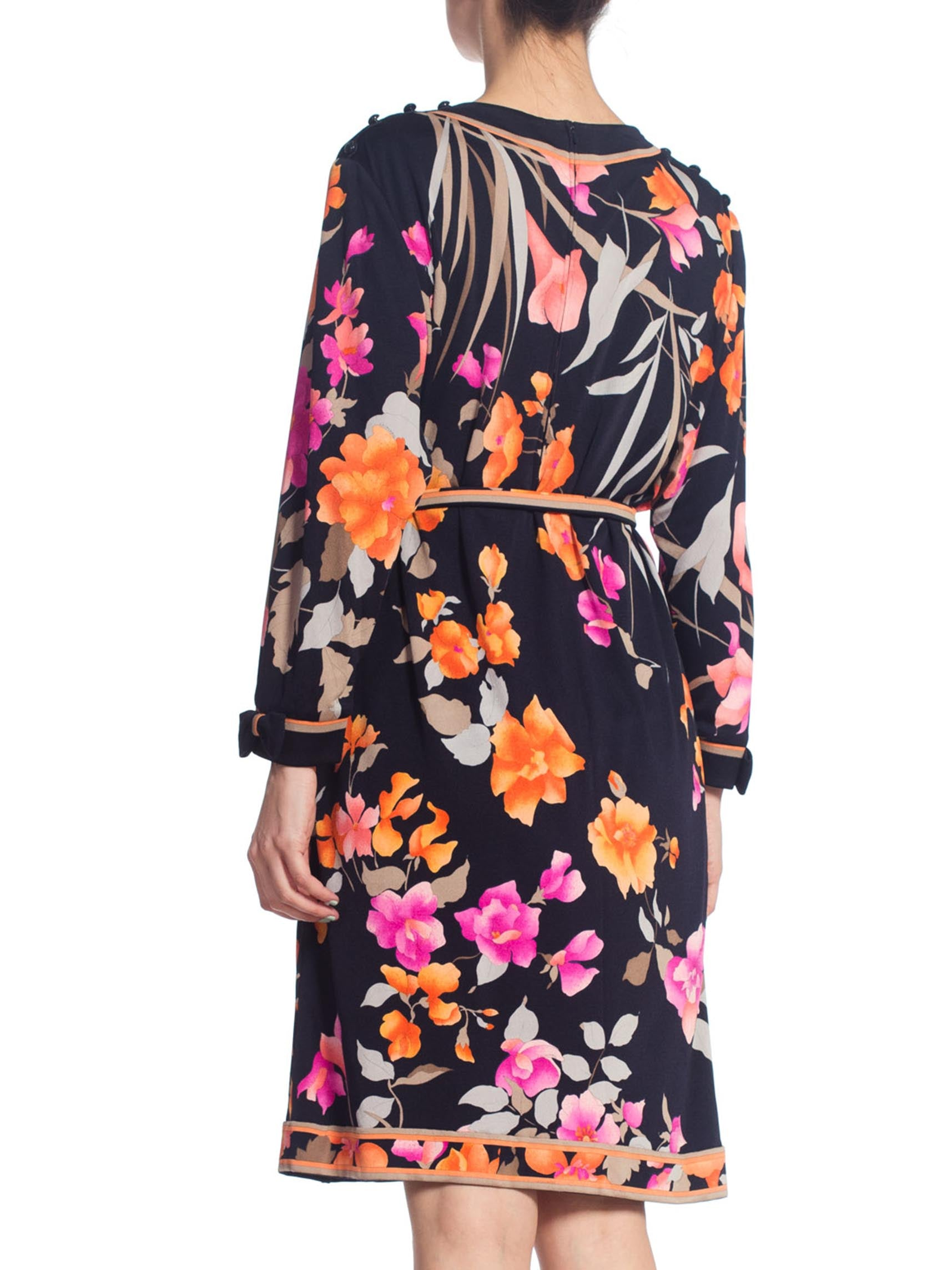 1980S LEONARD Black & Pink Silk Floral Printed Dress With Sleeves Belt