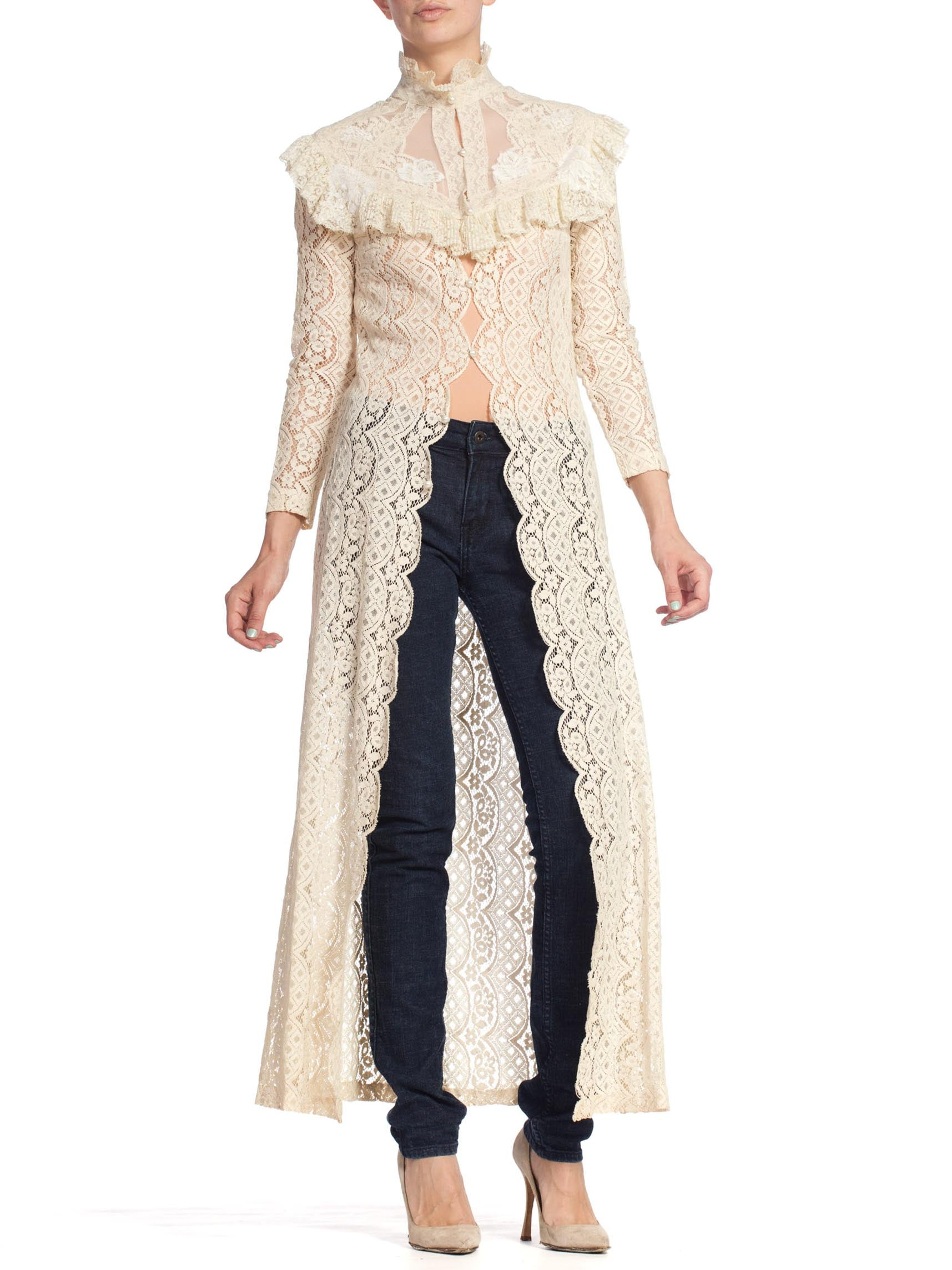 1970'S Ivory Cotton Lace Victorian Revival Duster Dress