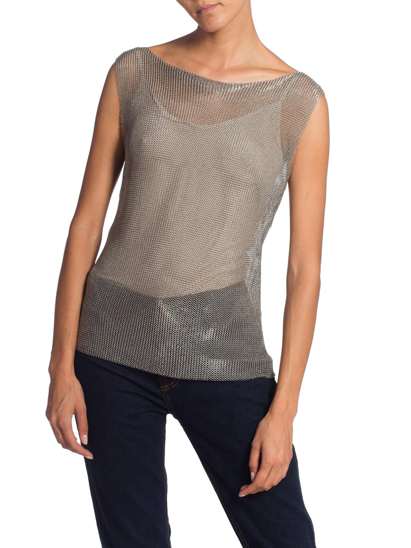 1990S ALEXANDER MCQUEEN Style Silver Chainmail Top