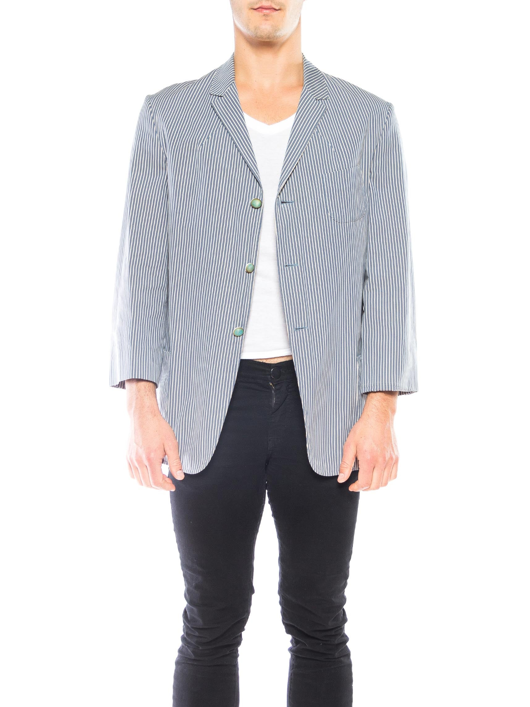 1990S Vivienne Westwood Blue & White Cotton Seersucker Men's Gatsby Style Blazer