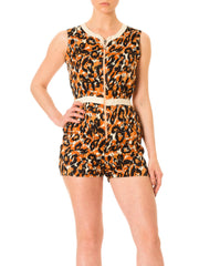 1970s Abstract Animal Print Front Zip Romper Jumpsuit Shorts