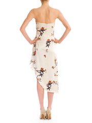 Strapples Asian Floral Silk Dress