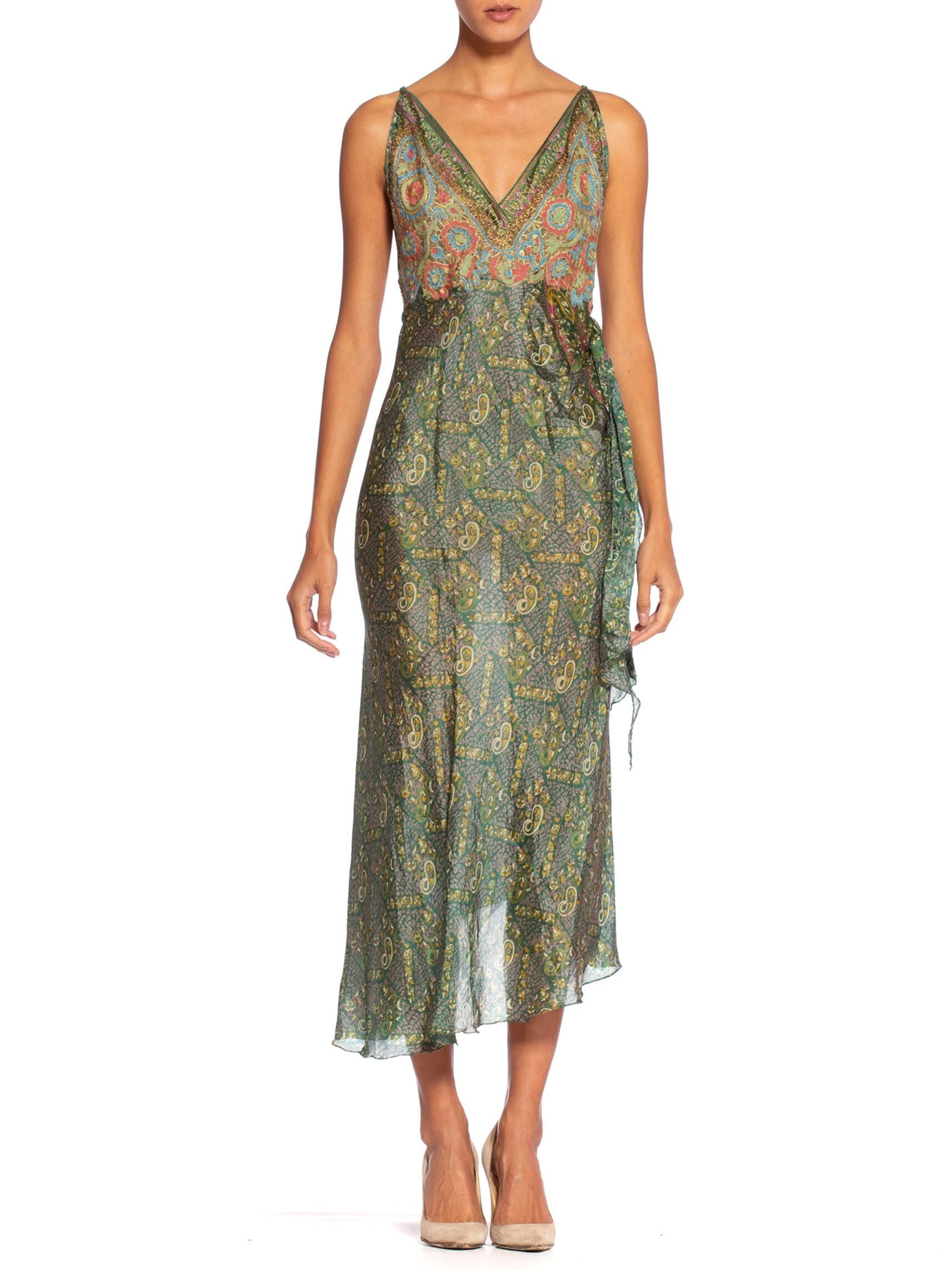 1960'S Morphew Collection Bias Backless Indian Print Dress With Edwardian Metallic Embroidery Gown