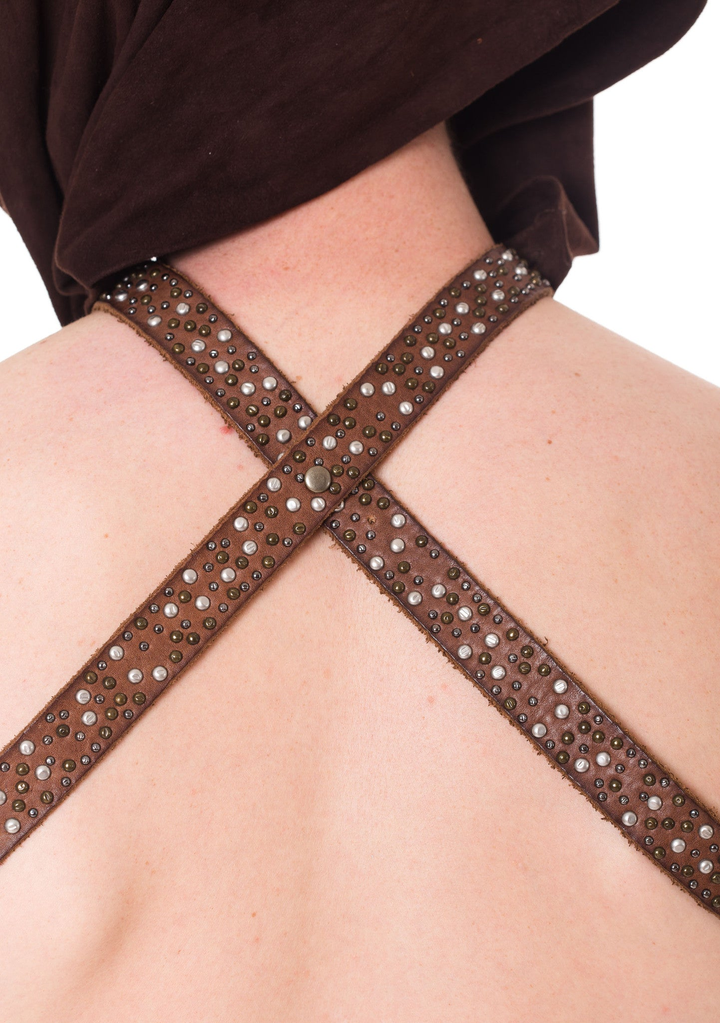 Chocolate Brown Suede & Leather Studded Headpiece Harness With Detachable Hood