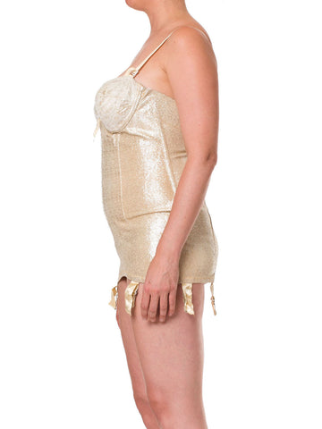 1950S Metallic Gold Poly Lurex Stretch Showgirl Pin-Up Bustier