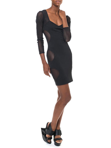 Vintage Black Body Con Mini Dress With Sheer N' Stretchy Cat-Like Fab