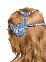 Beautiful 1920s Blue Beaded Headpiece