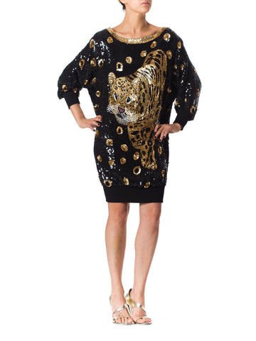 1980s Awesome Sequin Leopard Oversized Shirt Dress