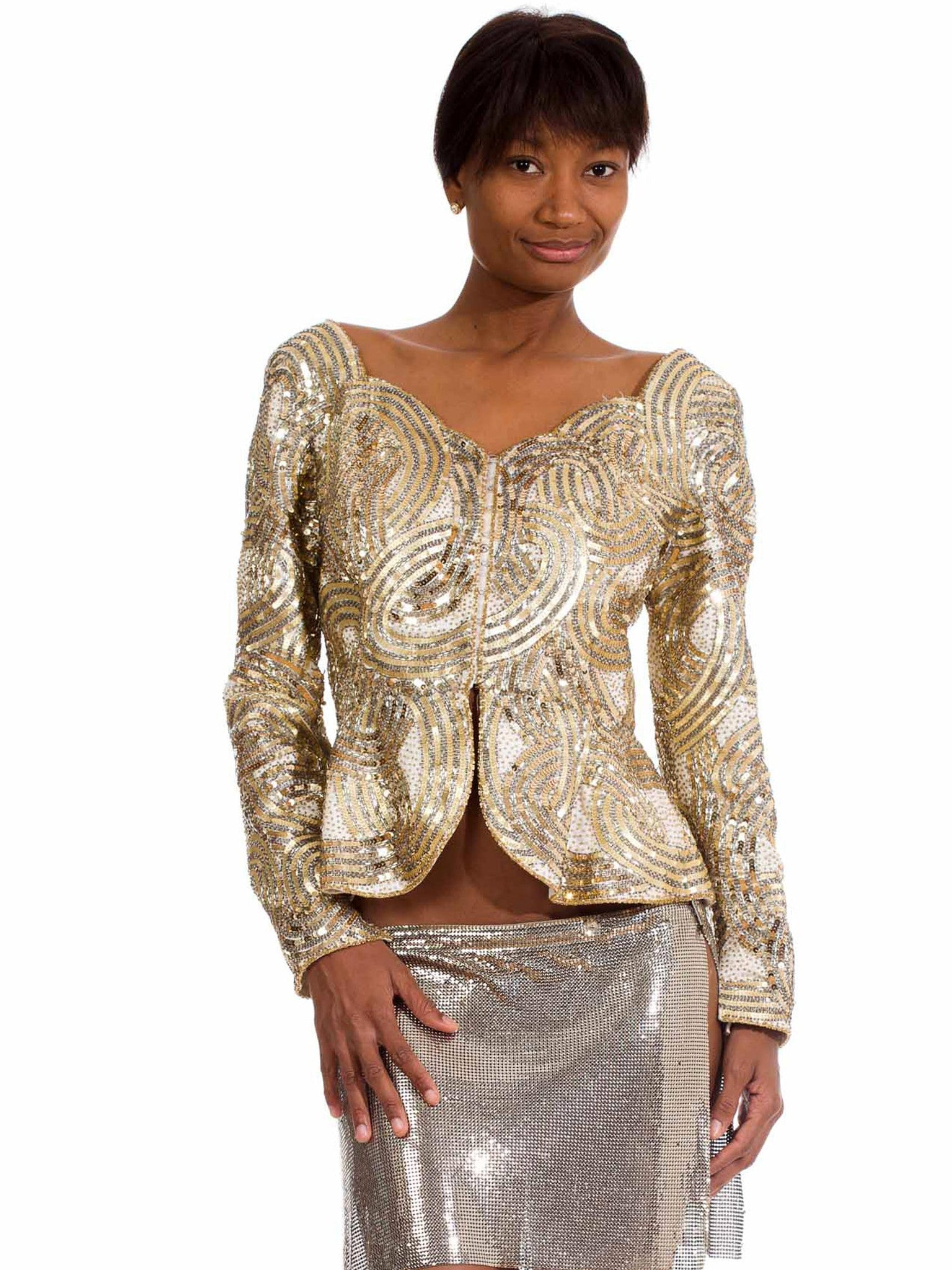 "1980S Silver & Gold Beaded  ""Dynasty"" Style Long Sleeve Jacket Top With Peplum"