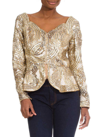 1980s Vintage Festive Gold Beaded Jacket