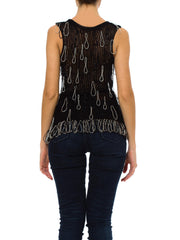 Vintage 1980's Black Top with Silver Looped Beading