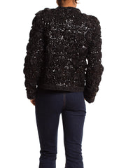 Lord and Taylor Sweater Covered in Ribbon Embroidery and Beads