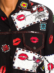 1980s Beaded Love Letters and Kisses Moschino Style Jacket