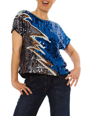 Dazzling 1980s Vintage Sequined Lightning Bolt Top