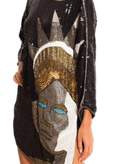 1980s Beaded New York Statue of Liberty Tunic Dress