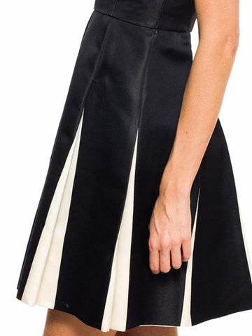1990S James Galanos Black & White Silk Satin Op Art Pleated Panel  Cocktail Dress