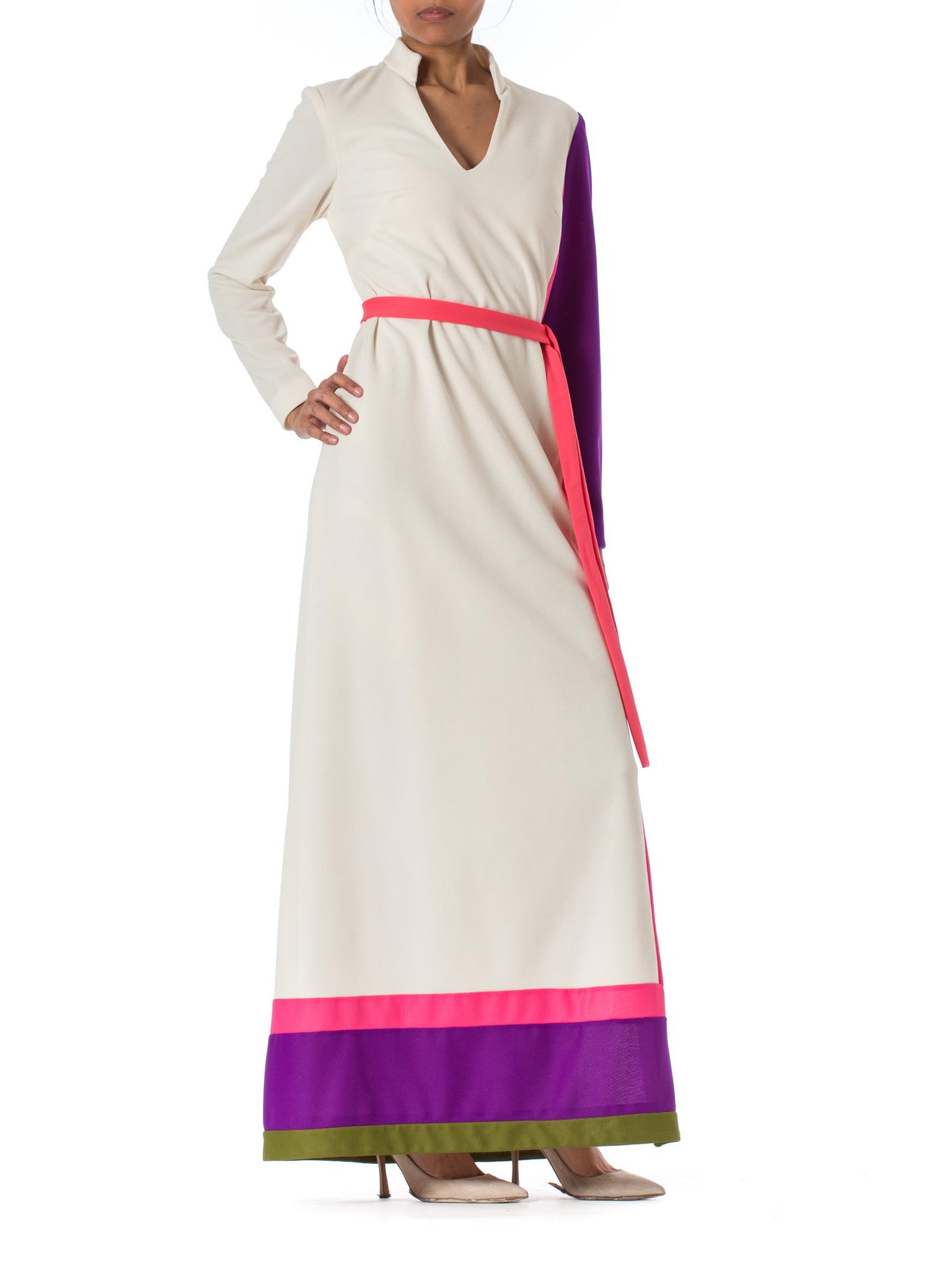 1960s Mod Jack Bryan White Colorblock Long Sleeve Maxi Dress