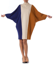 1960s Mod Colorblock Knit Batwing Sleeve Dress