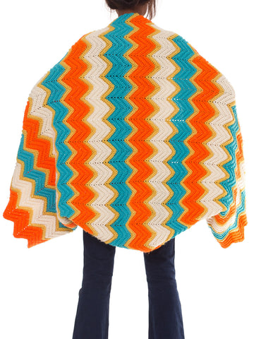 1970s Amazing Hand Knit Crazy Afghan Jacket