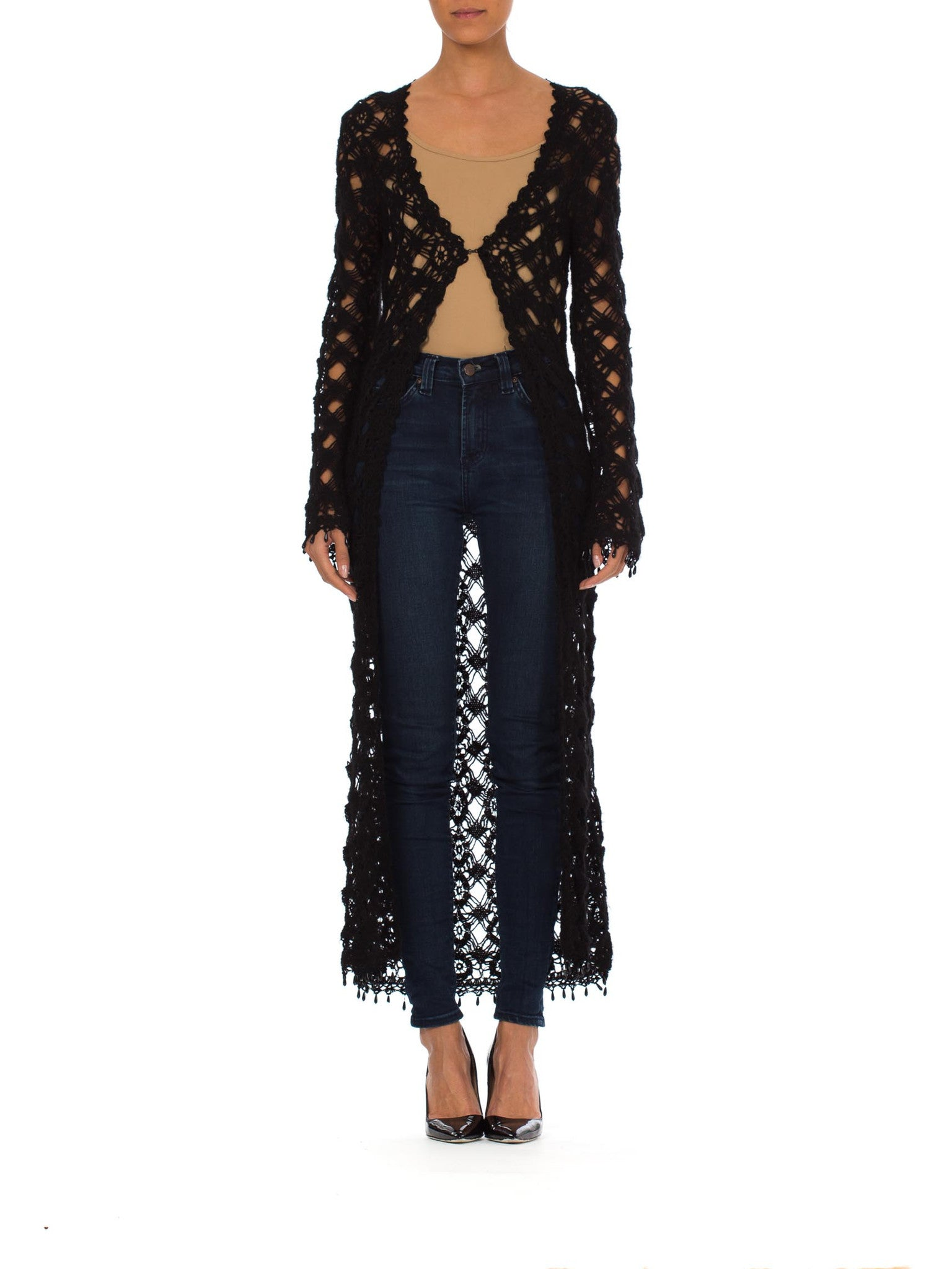 1970s Boho Black Crochet Duster Jacket Beaded Button Details