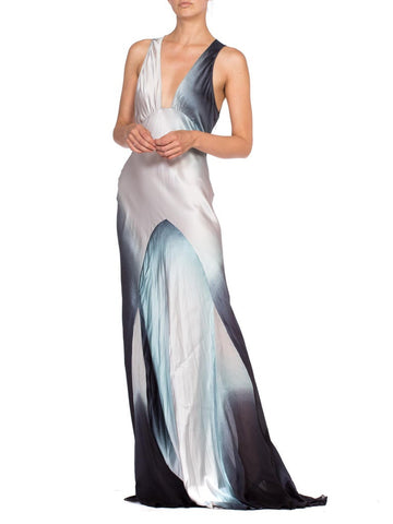 1990's Roberto Cavalli Bias Cut Ombre Print Gown