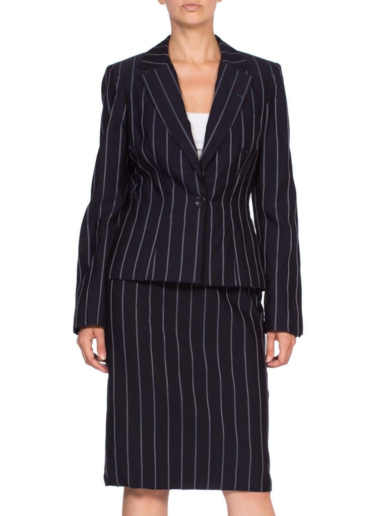 1990'S Navy Blue Pinstripe Rayon Blend Fitted Skirt Suit