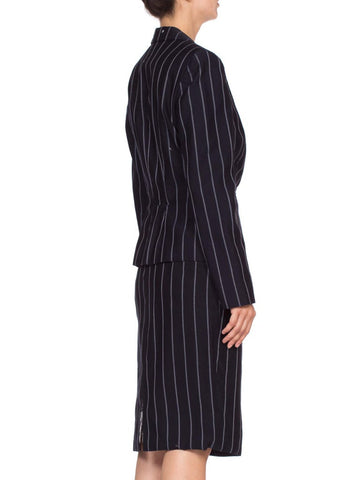 1990's Fitted Pinstripe Skirt Suit From Carol Alt