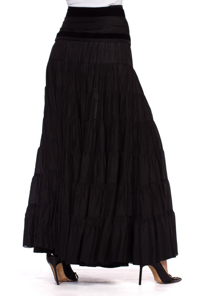 2000S BLUMARINE Black Silk Full Boho Maxi Skirt , Sz 44