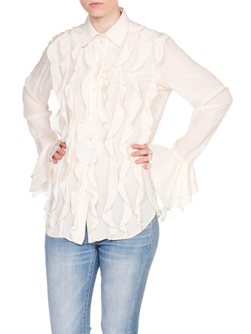 Chanel Style Cream Silk Ruffled Blouse From Carol Alt