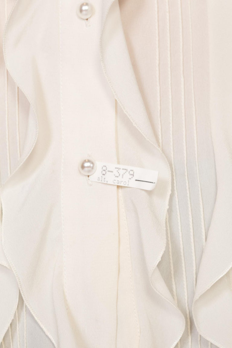 1990'S CHANEL Style Ivory Silk Crepe De Chine Ruffled Blouse